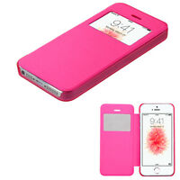For Apple Iphone Se 5s 5 Pink Window Leather Flip Wallet Case Cover Slim Thin