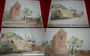 2 Aquarelles Originales Datées 1964, et Situées : ROSKILDE - SEELAND - DANEMARK