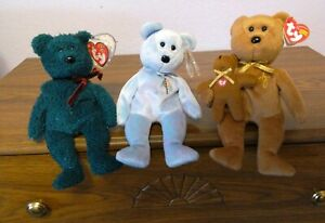 Beanie babies 3:  Holiday Teddy 12-24-00, Issy and  2005 Signature bear