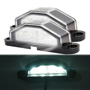 2x-4-LED-Rear-License-Number-Plate-Light-Lamp-Truck-Trailer-Super-Bright