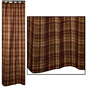 Details About New Primitive Rustic Red Burgundy Tan HARRINGTON PLAID Fabric Shower Curtain
