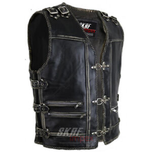 Men-039-s-Genuine-Cow-Leather-Heavy-Zipper-Rocker-Biker-Motorcycle-Vest-Waistcoat
