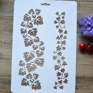 Layering-Stencil-Wall-Painting-Decorative-Spray-Stencil-Grapevine-Rattan