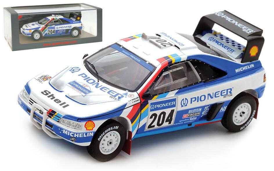 SPARK S5616 PEUGEOT 405 T16 Winner Paris Dakar Rally 1989 Ari Vatanen échelle 1 43