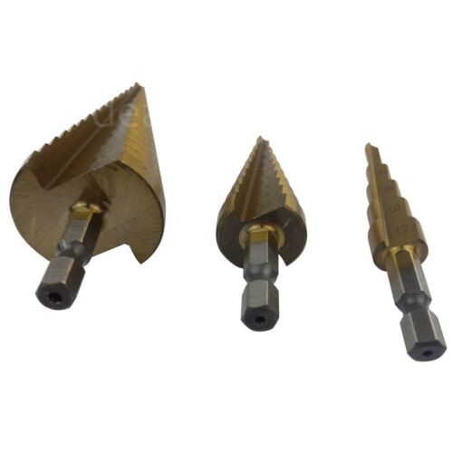 3 Pcs Large Step Titanium Cone Drill Hole Cutter Bit HSS Set Tool With Pouch