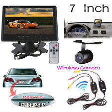 Wireless 1/4 CMOS Backup Reverse Camera + 7 Inch Car TFT LCD RearView Monitor