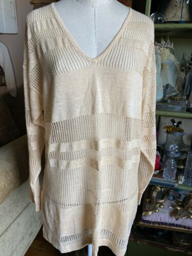 LES COPAINS Italy Buttery Yellow Linen Pullover Kn