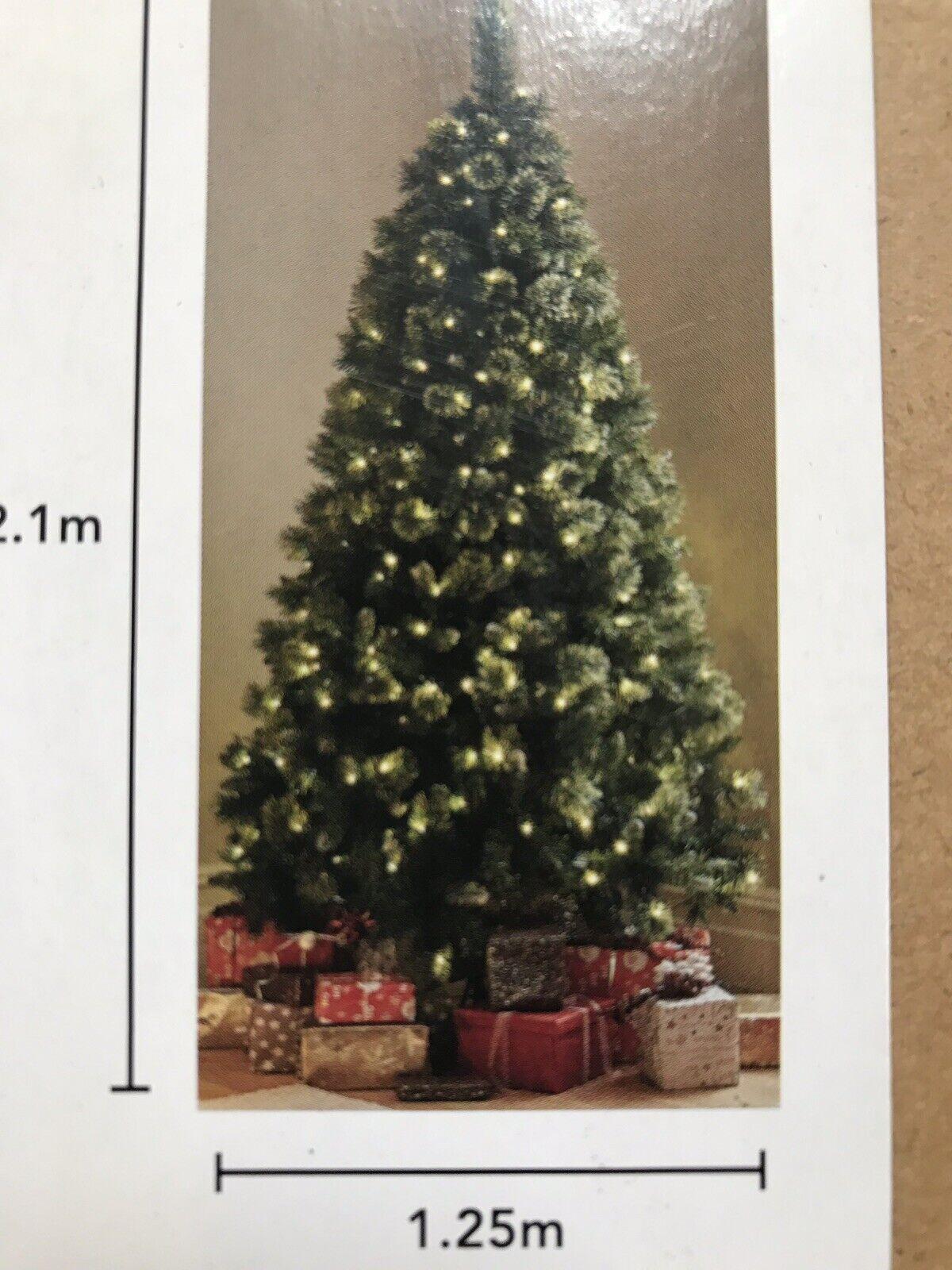 Pre Lit Montana Silver Christmas 250 Cool White Led Lights Tree 7ft For Sale Ebay