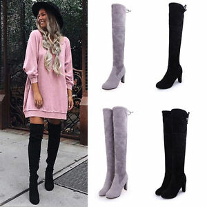 831107c5fdb0d Women Ladies Suede Over The Knee Boots Shoes Block High Heel Lace ...