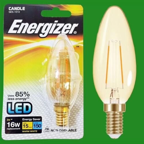 1x 2W LED Filament Candle Ultra Low Energy Instant Start Light Bulb SES E14 Lamp
