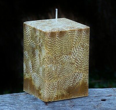 200hr GENUINE LEATHER Triple Scented Natural Square Candle MENS GIFT & FRAGRANCE