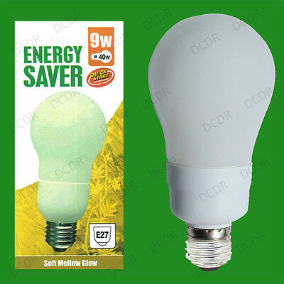 E27 Lamps ES 9W Low Energy CFL Micro Spiral 3500K Cool White Light Bulbs