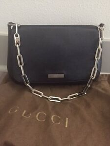 5e93d1b65 ... image is loading gucci black leather silver chain clutch purse 100 ...