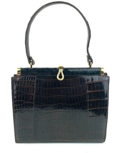 Vassar Genuine Alligator Handbag Gold Tone Hardwar