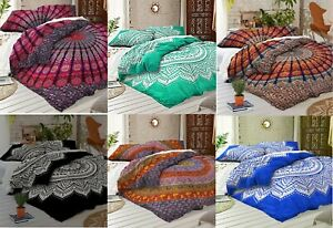 Queen-Size-Mandala-Printed-Cotton-Flat-Bed-Sheet-Bedspread-Boho-Bedding-Throw