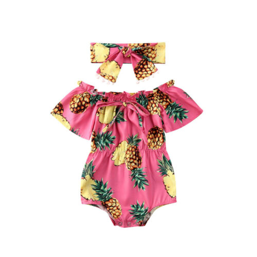 UK 2PCS Newborn Baby Girl Flower Romper Bodysuit Jumpsuit Outfits Clothes Summer