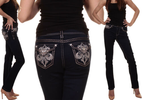 Donna Blu Pantalone 8 12 Boot taglia Skinny 16 Clubbing Jeans Donna ricamo Pant Cut scuro xO1Rqw