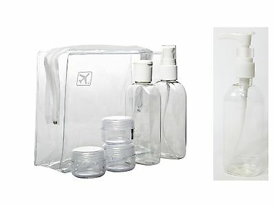100 ml Plastic Bottles for Travel + Case - Lotion - Airport Security Approved