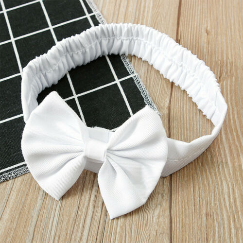 Baby Girl/'s Round Collar Pure White Lace Short Sleeve Dress Bow Headband Suit UK