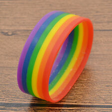 Rainbow Wristband Bangle Lesbian Gay Pride Silicone Cuff LGBT ID Birthday Gift