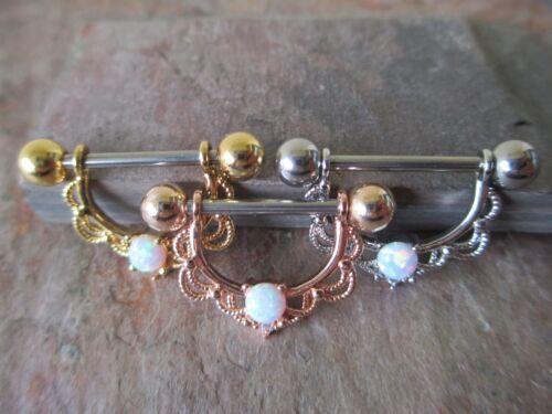 White Lab Opal Nipple Ring Shield Piercings Gold IP Rose Gold IP Silver IP