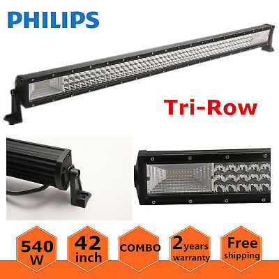 Flood Combo Ford Boat PK 240W 7D Tri-Row 42inch 540W Curved LED Light Bar Spot