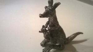 Silver animals figurines . Kangaroo miniatures in solid silver. Collection.