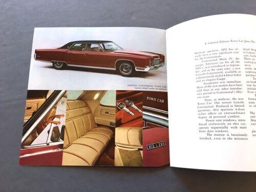 Continental Mark IV 1972 Mid Year Lincoln Town Car Car Sales Brochure Folder