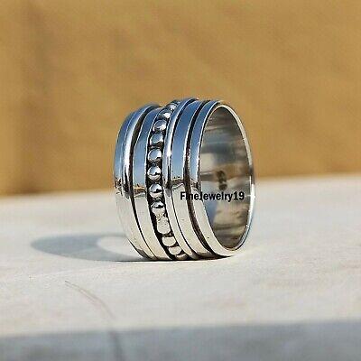 Crystal 925 Sterling Silver Spinner Ring Meditation Ring Heart Shape Ring su629