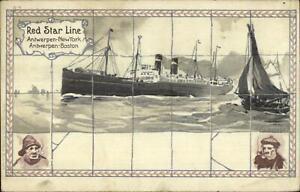 Red-Star-Line-Steamship-B-4-Used-Postcard-1921