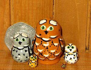 Nesting-dolls-Russian-Matryoshka-MINIATURE-tiny-Brown-White-OWL-BIRD-5-HAND-MADE