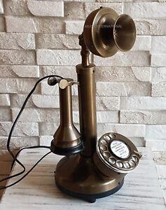 BRASS-RETRO-CANDLESTICK-ANTIQUE-TELEPHONE-HANDMADE-BEST-GIFT