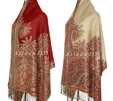 TripleLayer Pashmina & Silk Paisley Shawl/Wrap