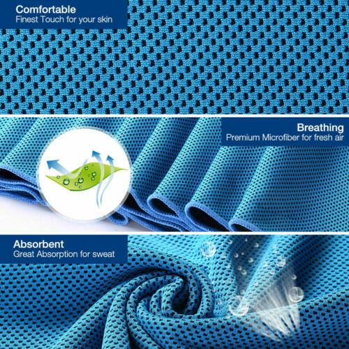 2x Cooling Towel Cool Ice Handtuch Weicher Cool Faser Eiskaltes Handtuch Kühlend