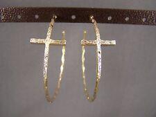 """Gold tone sideways horizontal Cross dangle hoop earrings 2.25"""" wide post hoops"""