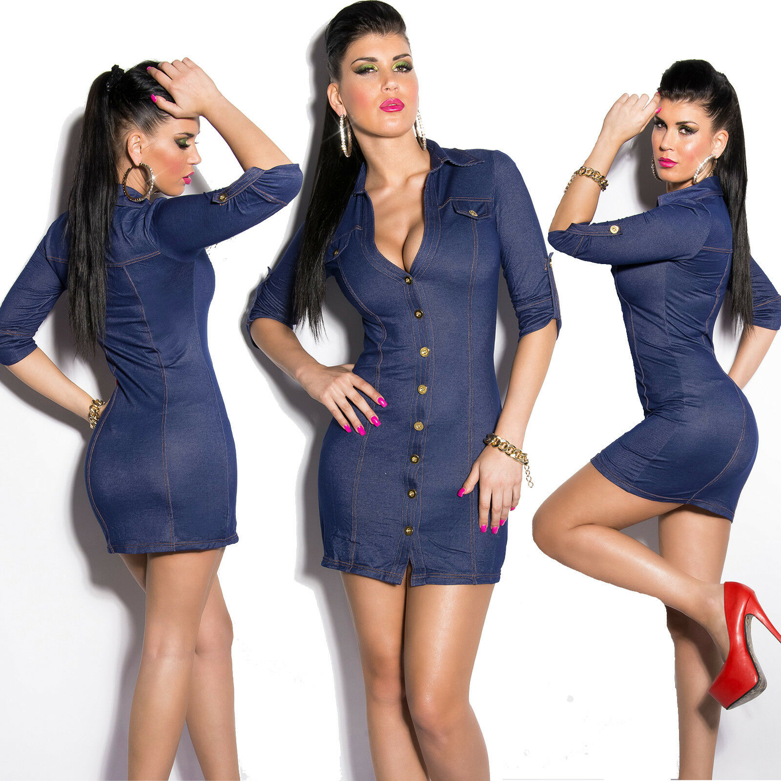 Top Women Mini Dress Clubbing Ladies bluee Jeans Look Blouse Size 10 12 38 40 M L