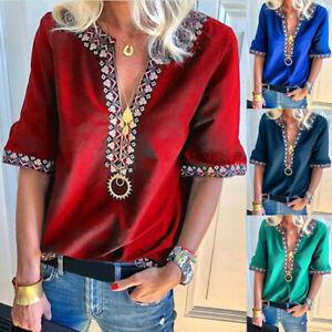 Hot-Sale-Women-039-s-Plus-Size-Loose-Short-Sleeve-V-Neck-Beach-Sunscreen-Top-Blouse