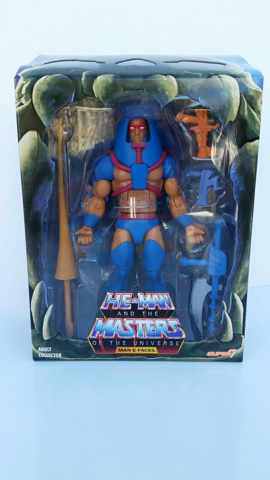 He-man motu 2018 super 7 man-e-faces 7  action - figur - neu       misb