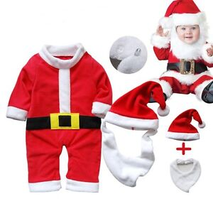 f99137019 Details about Baby Boy Girl First Christmas Santa Costume Dress Outfit  Clothes+HAT Set NEWBORN