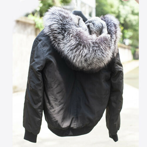 Rabbit Fur Lined Bomber Jacket With Silver Fur Collar Winter Coat