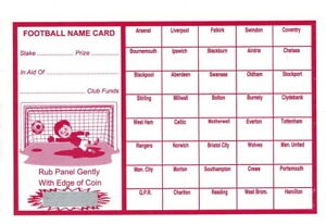 40 Named Football Scratch Match Card Uk Team Names Fundraising Charity Events Ebay