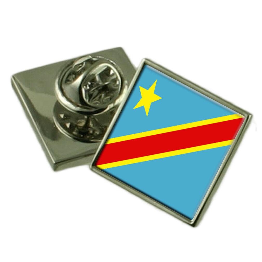 Congo-Kinshasa bavero Pin argentoo Sterling 925 BADGE Incisa Personalizzata Scatola Scatola Scatola 8d7363