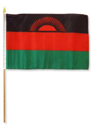 """12x18 12/""""x18/"""" Malawi Stick Flag wood staff"""