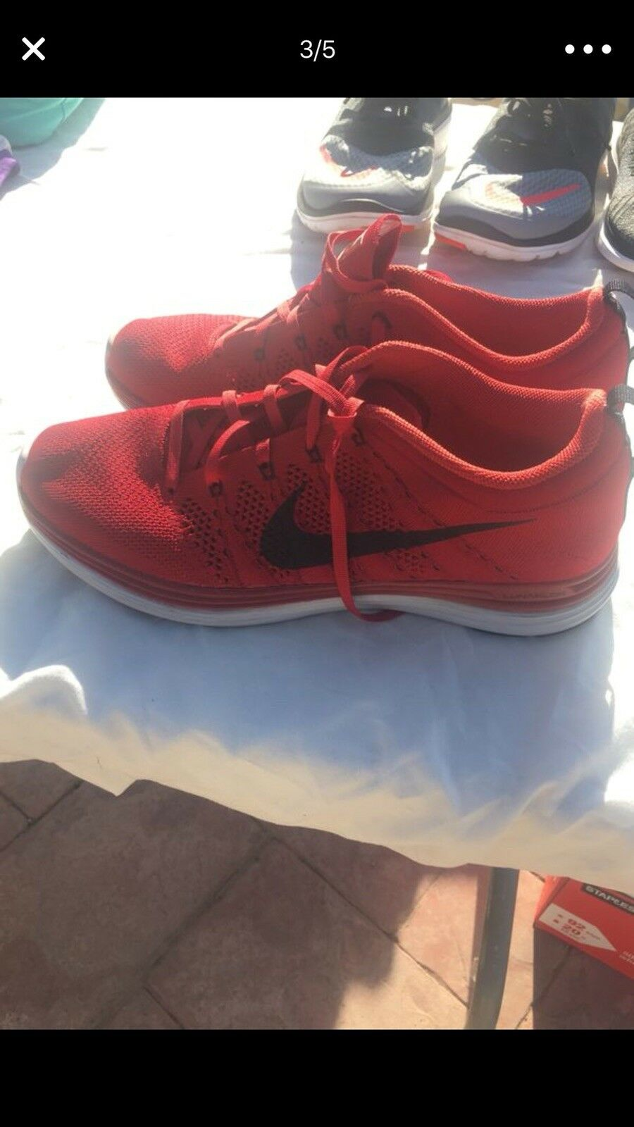 Nike Flyknit Lunar 1 One Gym Red Black Pure Platinum Size