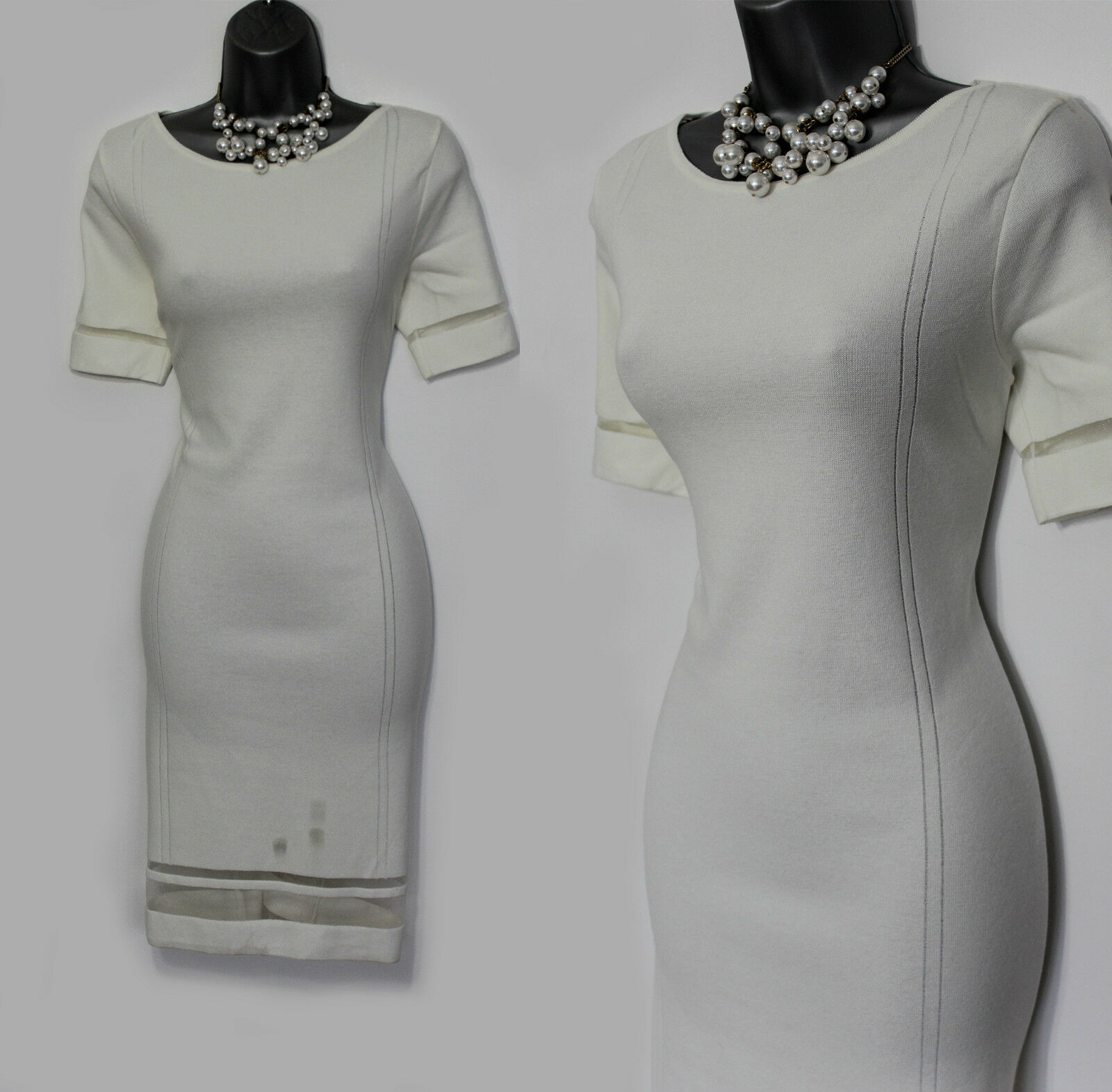 MONSOON Ivory Knitted Embellished Short Sleeves Dress Wedding Evening