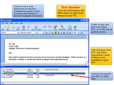 Text Speaker Turn Text Documents Into MP3 Audio AT&T