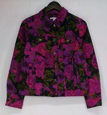 Isaac Mizrahi Live! Sz 8 Denim Jacket w/ Floral Print Multi-Color NEW