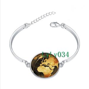 Steampunk Globe Terre Verre Cabochon Tibet Silver Bangle Bracelets Wholesale