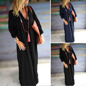 Vintage-Femme-100-coton-Manche-Longue-Bouffant-Col-V-Plisse-Robe-Dresse-Maxi