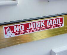 No Junk Mail Leaflets Menus Sticker Self Adhesive Freepost